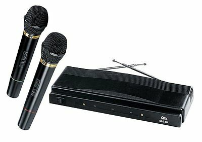 Dj Pro Karaoke Dual 2 Two Wireless Cordless Mic Microphone System New