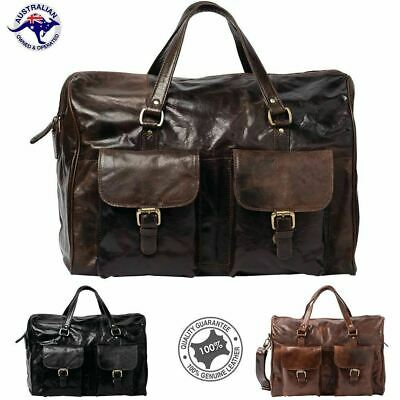 Premium Leather Duffel Bag Travel Bag Overnight Bag Men's Shoulder Bag