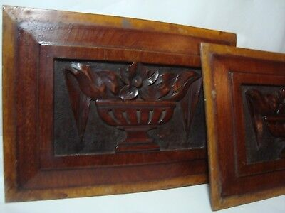 A Pair Of Antique Carved Wood Panels, Bowl Of Flowers.