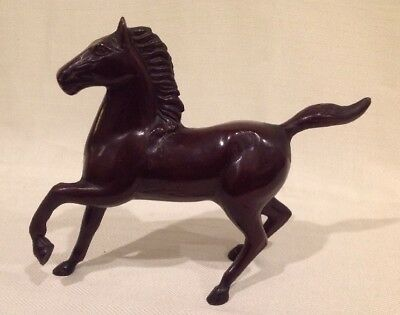 Vintage Solid Cast Iron Statue Of Running Horse Brown / Bronze