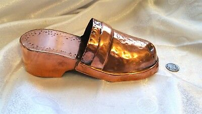Metal Art Pounded Copper 1800s Style Clog Shoe Antique Wall Pocket Hang Picture