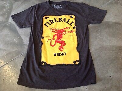 New FIREBALL WHISKY Label Logo T-shirt, TAUPE, SMALL