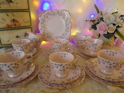 Vintage Tuscan 21 Piece Tea Set, Baby Pink & Floral, Very Good Condition