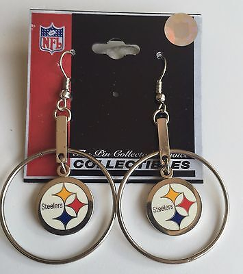 Pittsburgh Steelers Logo Charm HOOP Earrings - NFL Licensed