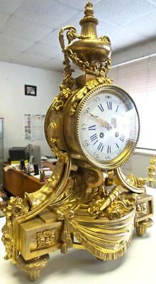 Magnificent XL Antique 19th c French Solid Gilt Bronze Mantle Clock by S.Marti