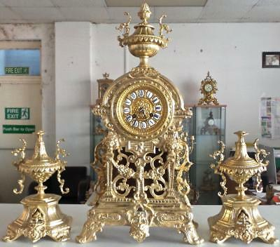 Beautiful Antique French 19th c gilt bronze 8 day mantle clock garniture set