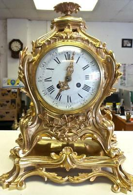 Beautiful Antique French 19thc Gilt Bronze Rococo 8 Day Bell Mantle Clock & Base