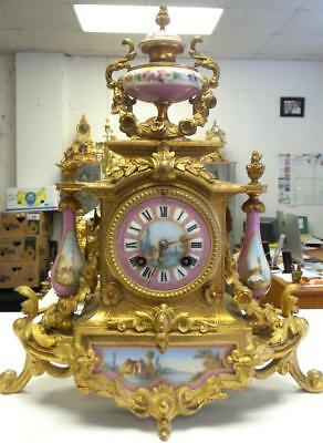 Beautiful Antique 19th C French Japy Freres Gilt & Sevres Porcelain Mantle Clock