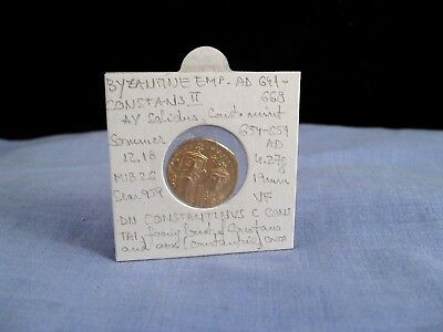 Ancient Byzantine Gold Coin Ad 654-659 Constans Ii Constantinople Solidus Vf