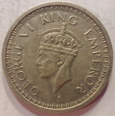 1944 SILVER ONE RUPEE  BRITISH INDIA COIN -Security Edge
