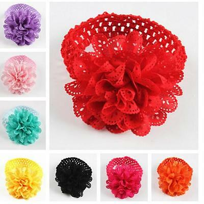 Baby Kids Girls Lace Flower Crochet Hairband Headband Dress Up Head