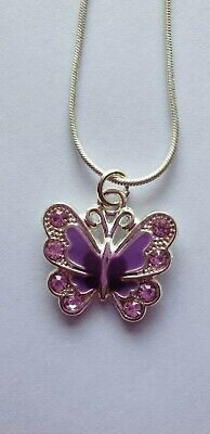 """PURPLE RHINESTONE BUTTERFLY NECKLACE,Silver Plated 16"""" Chain,Fibromyalgia,Gift."""