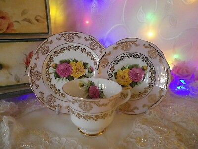 Vintage English Trio, Pink And Gold, Good Condition
