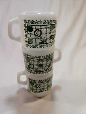 LOT OF 3 Vintage Anchor Hocking Fire King Green Apple Gingham Stackable cups mug