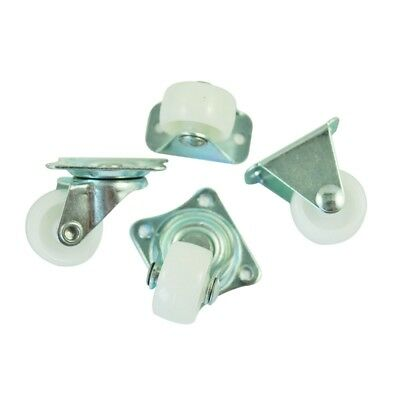 "1X(4 Pcs 1"" Plastic Wheel Rectangle Top Plate Fixed Swivel Caster Set F5J8)"