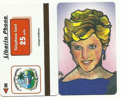 * TUTTO A PARTIRE DA 1 € - LIBERIA PHONE scheda 25 units LADY DIANA SPENCER-us *