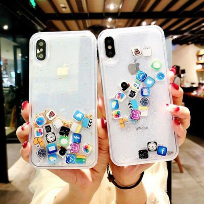 For iPhone XS Max 8 7 Plus XR Glitter Bling Moving Stars Liquid Phone Case Cover