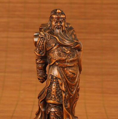 rare chinese old Boxwood Hand Carved hero guanfigure Statue Collection