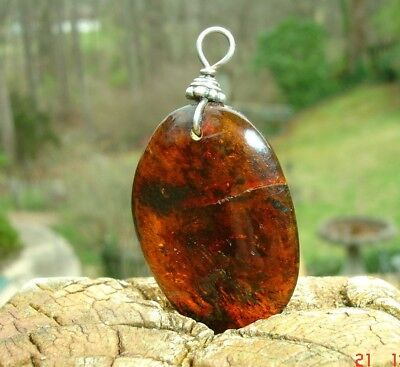 Nice HUNK of real AMBER teardrop pendant smoothing stone shape 35x24mm
