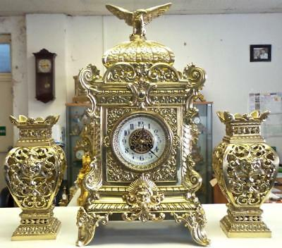Magnificent Huge XL Antique 19thc French Solid Gilt Brass Palace Table Clock Set