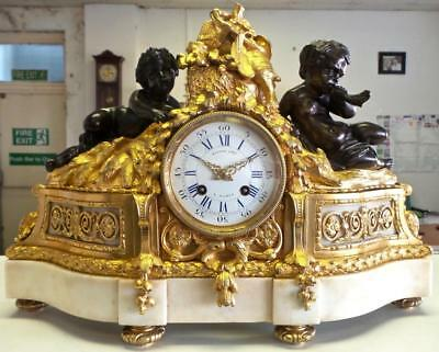 Antique French Empire Early 1800s Gt Ormolu Bronze Mantle Clock by Raingo Freres