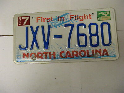 1998 98 North Carolina NC License Plate Airplane JXV-7680