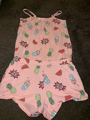 Girls H&M 12-13 Years Playsuit Pink Summer Holiday