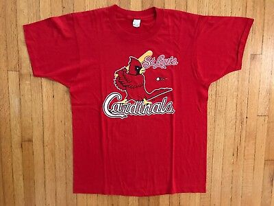 VTG ST. LOUIS CARDINALS 80s BASEBALL T-SHIRT SZ M JERSEY FRED BIRD PAPER THIN