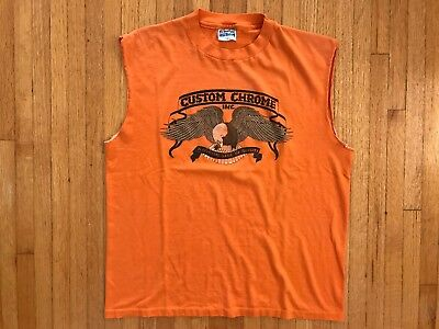 VTG 70s CUSTOM CHROME HARLEY DAVIDSON MOTORCYCLE ACCESORIES T-SHIRT SZ L 1970s