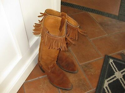 VINTAGE NEOLITE FRINGED COWBOY BOOTS womens 9.5 to 10 Mens 8