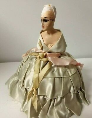 Antique Art Deco 20's PIN CUSHION Hand Painted Chalk Ware Doll Head w/Silk Gown