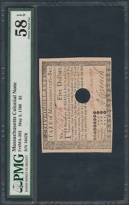 "1780 (FR#MA-282) $5 Massachusetts Colonial Note ""PMG 58 EPQ"""