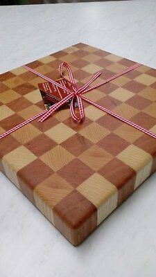 Custom Hand crafted end grain wood cutting board, Checker pattern, Cherry Ash