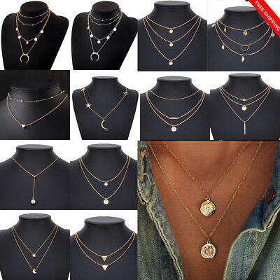 Fashion Multilayer Women Lady Alloy Clavicle Choker Necklace Charm Chain Jewelry