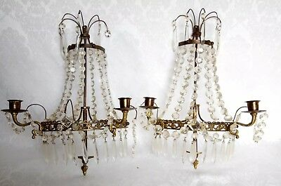 Pair of Antique French Bronze Empire Style Wall Sconces w/Cut Crystal Prisms