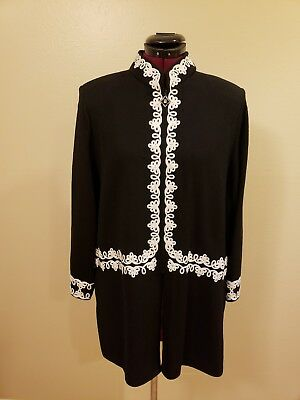 St. John Collection  Black /White Trim Knit  Jacket Front Zip SZ 16