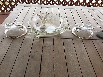 Vintage Pheasant Bowl With Matching Candle Holders