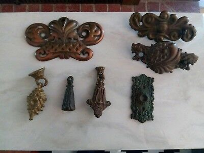 Lot of 7 Antique Original 1800's Architectural Salvage Escutcheons Pull Hardware