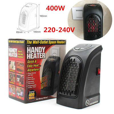 400W 220-240V Mini Furnace Portable Plug-in Electric Wall-outlet Heater Bedroom
