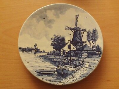 Vintage Delft Blauw Blue Hand Painted Holland Wall Plate Windmill/Boat/Village.