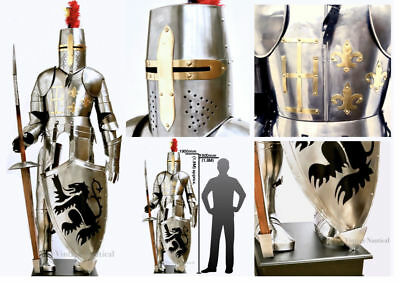 Medieval Suit Of Full Body Armour Knight Stainless Steel Templar Combat Armor