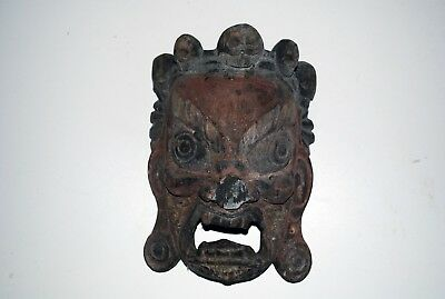 Antique Tibetan Carved Wooden Mask of the Fierce Mahakala