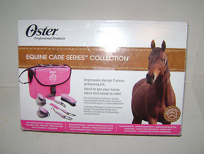 Oster Equine Care 7 Pcs Horse Grooming Kit Curry Comb Hoof Pick Mane Brush Pink