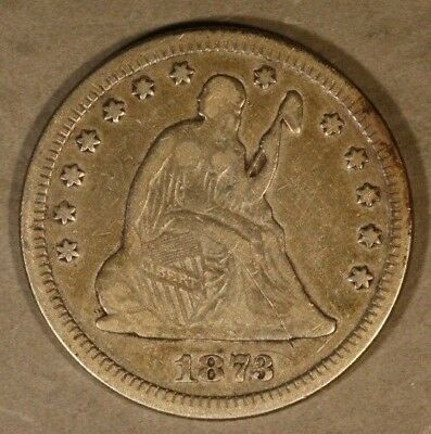 1873 Liberty Seated Quarter No Arrows Open 3 Circulated ** Free U.S. Shipping **