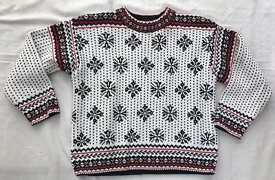 Boys Hanna Andersson White Black Red Cotton Holiday Winter Sweater Sz 120 US 6 7