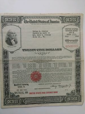 (2) US Savings Bond Series E $25.00 July 1943 Baltimore, MD WW2 War Savings Bond