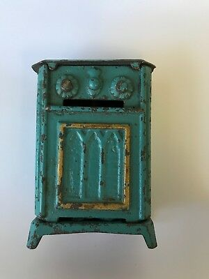 Rare Antique Hubley #1728 Cast Iron Blue Radio Console Still Bank ~ Lancaster Pa