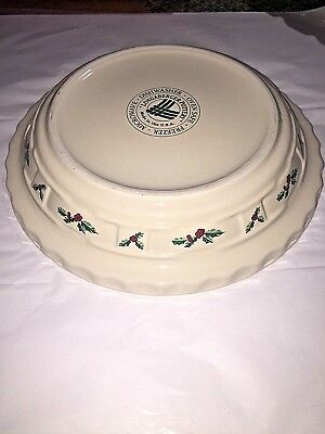 Longaberger Pottery Grandma Bonnie's Traditional Holly Pie Plate Dish USA made