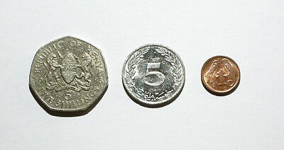 Kenya 5 Shillings 1985,Tunisia 5 Milliemes 1996, South Africa 1 Cent 1998