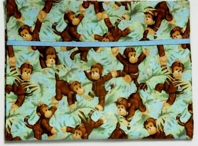 Monkeys Toddler Pillowcase on Blue&Green Cotton 17-10 New Handmade